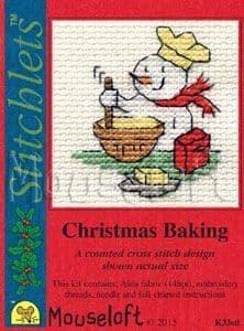 Mouseloft Christmas Baking Card Christmas Stitchlets cross stitch kit